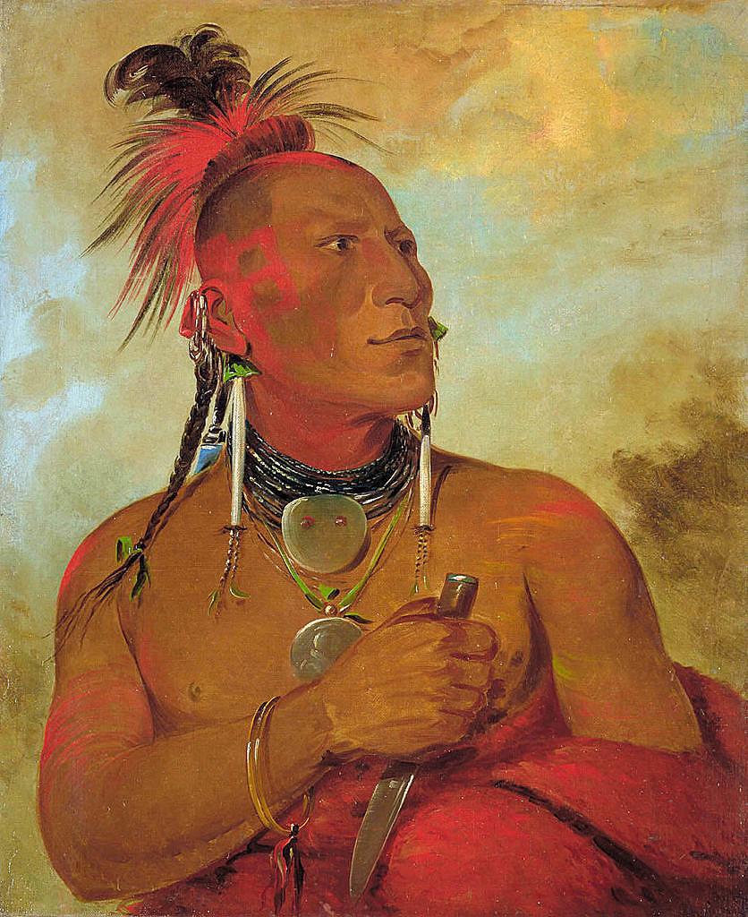 Malý bílý medvěd, bojovník kmene Konzů (Kansa). Jeho náušnice jsou vyrobeny z mušlových kosti. Malba George Catlin.