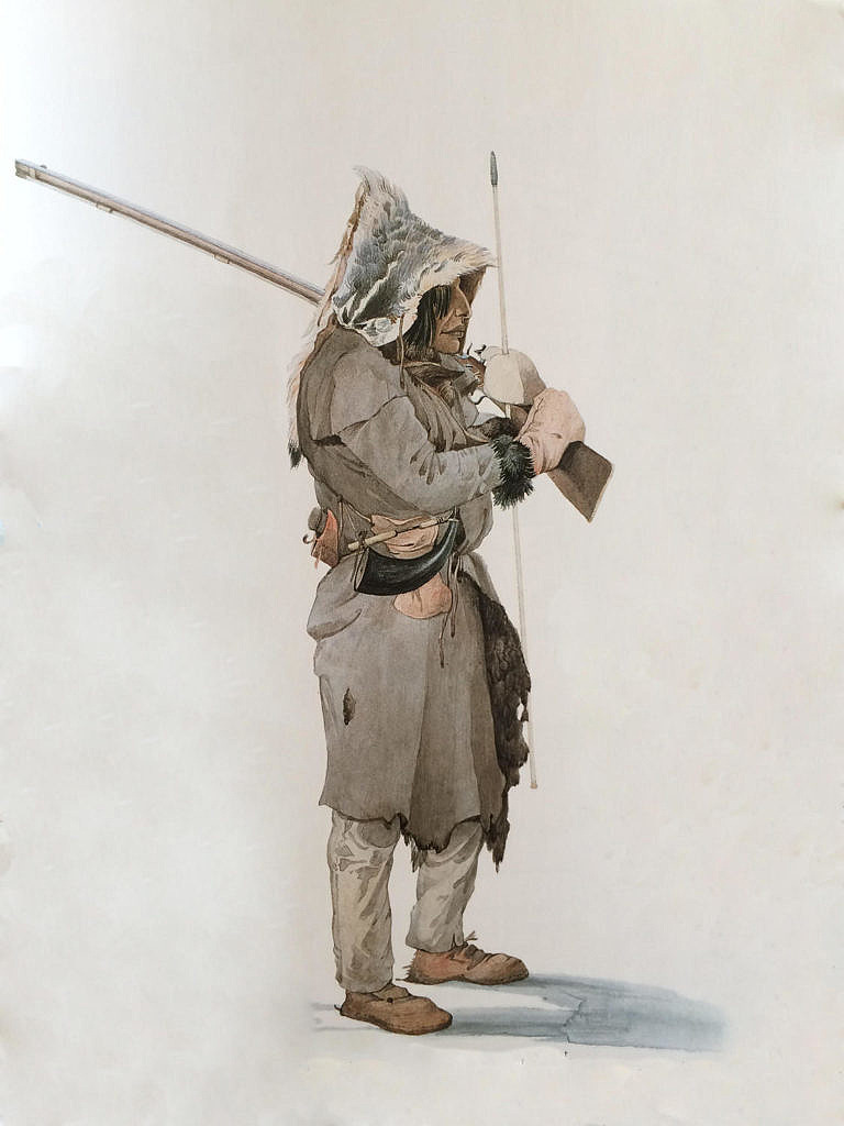 Lovec kmene Assiniboinů namalovaný Karlem Bodmerem v roce 1833. V ruce má severozápadní komerční pušku.
