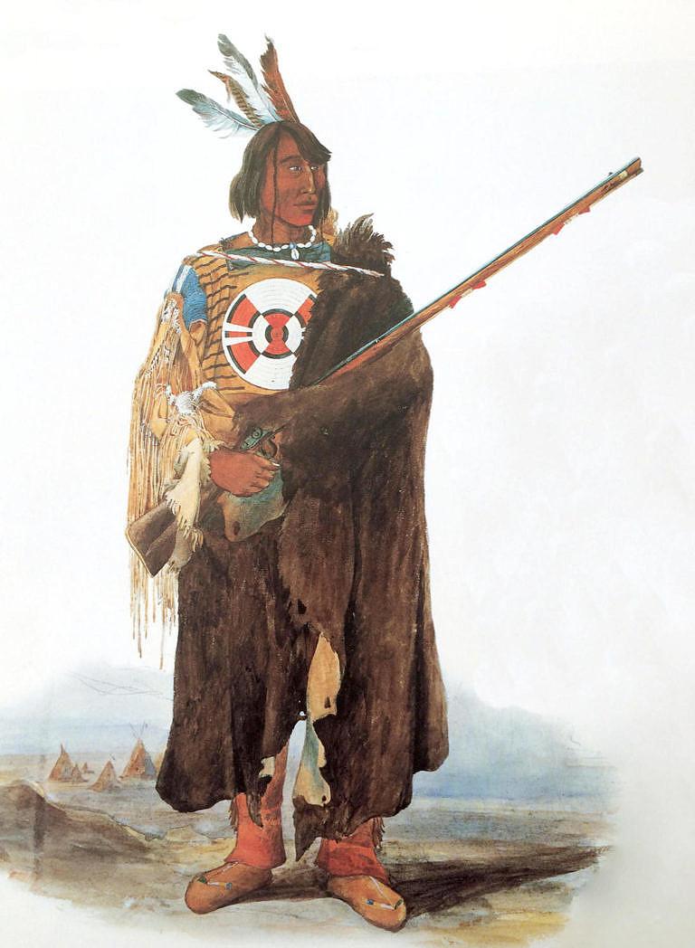 Válečník kmene Assiniboinů namalovaný Karlem Bodmerem v roce 1833. V ruce má severozápadní komerční pušku.