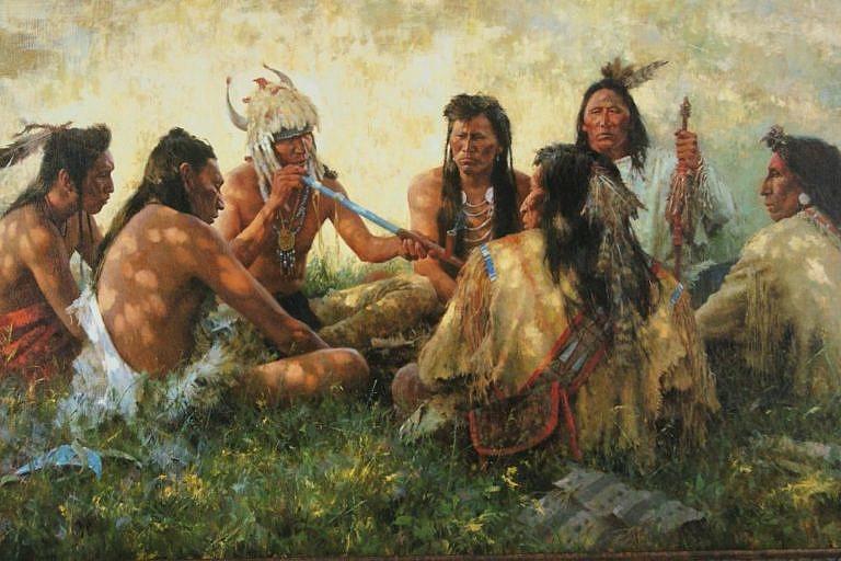 Kouření dýmky během válečné výpravy. Obraz od Howarda Terpninga.