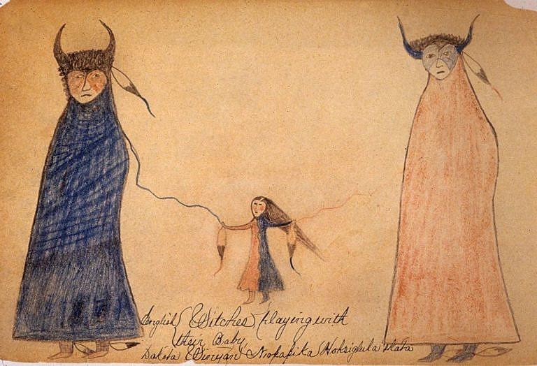 Kresba ženy, které se ve vidění zjevila Dvojitá žena. Kresba pochází z rezervace Rosebud z období kolem roku 1890.