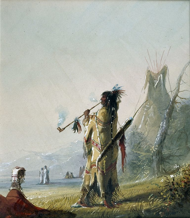Kuřák dýmky na obraze Alfreda Jacoba Millera z roku 1838.