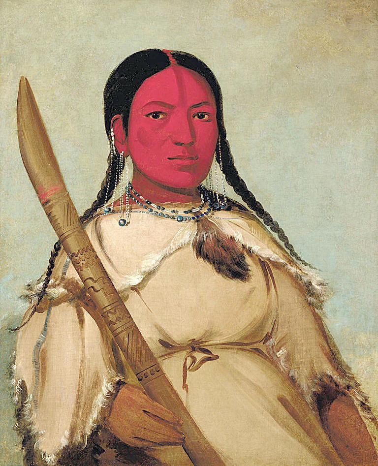 Lezoucí ruměnice - žena náčelníka kmene Assiniboinů v šatech z ovce tlustorohé. Malba George Catlina z roku 1832.