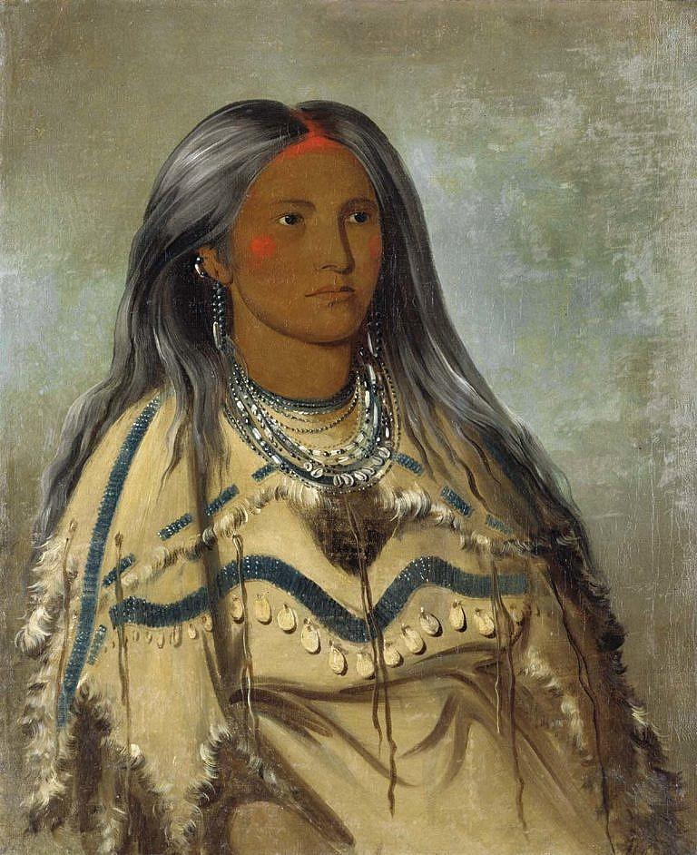Máta, dívka kmene Mandan v šatech z ovce tlustorohé. Malba George Catlina z roku 1832.