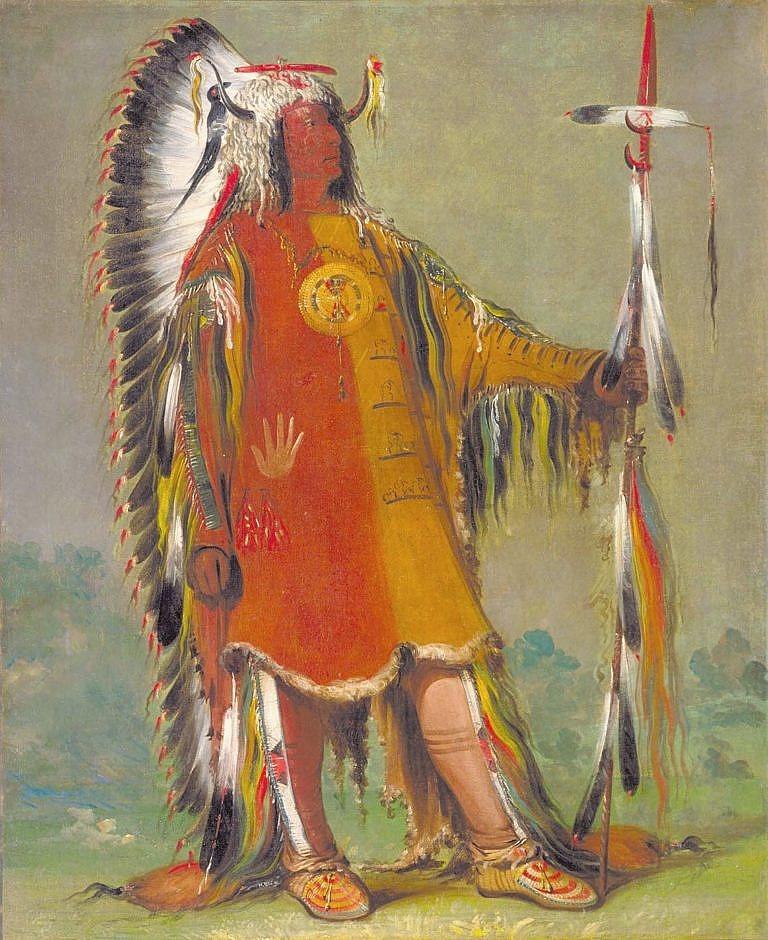 Náčelník Mandanů Čtyři medvědi (Mato tope) Na sobě má oblečenou válečnou halenu z kůží ovce tlustorohé s typickým spodním okrajem s proužkem světlé srsti a z intaktním ocasem. Malba George Catlin.