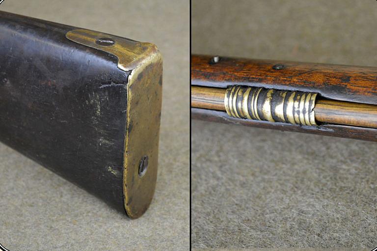 Pažba u severozápadní komerční pušky byla ukončena rovnou mosaznou deskou připevněnou jednoduchými šroubky nebo hřebíčky, z důvodu co nejlevnější výroby. Tunýlky na nabiják byly mosazné odlitky s drážkami.