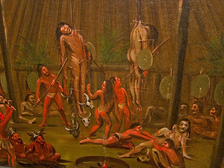 Mandanský obřad Okipa byl obdobou slunečního tance u jiných kmenů z Velkých plání. I v tomto obřadu podstupovali bojovníci sebetrýznění.