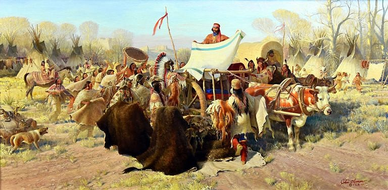 Míšenec (metis) obchoduje s Lakoty. Obraz Johna Clymera. Před a po obchodním jednání se vždy kouřila dýmka. Byl to prastarý indiánský zvyk.