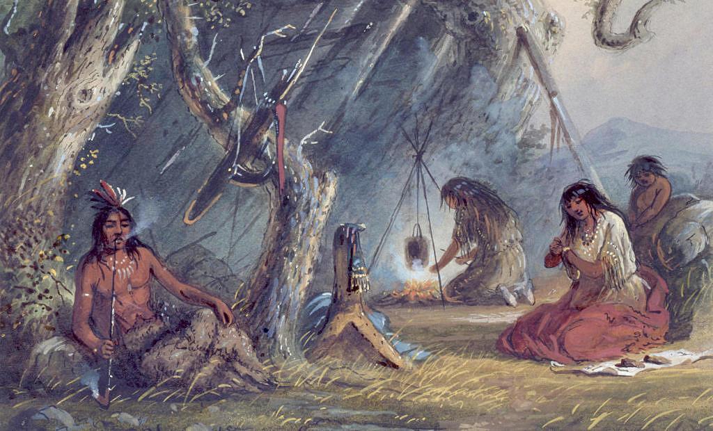Indián (vlevo) na malbě Alfreda Jacoba Millera z roku 1837 odpočívá a kouří dýmku pro potěchu, zatímco jeho ženy pracují.