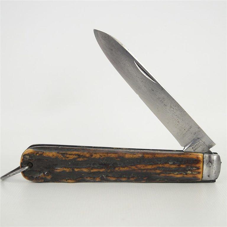 Originální zavírací nůž z poloviny 19. století s parohovou střenkou.