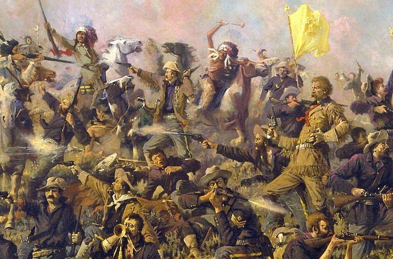 Poslední boj podplukovníka Custera na Little Big Hornu na obrazu Edgara Samuela Paxsona. Během takové bitvy s vysokou koncentrací zbraní střílející černým prachem na malém prostodu došlo rychle k zadýmení celého bojiště, což značně snižovalo přehlednost situace.
