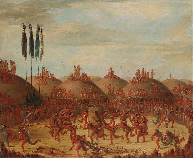 Vesnice Hidatsů na malbě George Catlina. Právě vesnice Hidatsů a Mandanů byly obchodními centry, odkud se kelnatky šířily dále na Velké pláně.