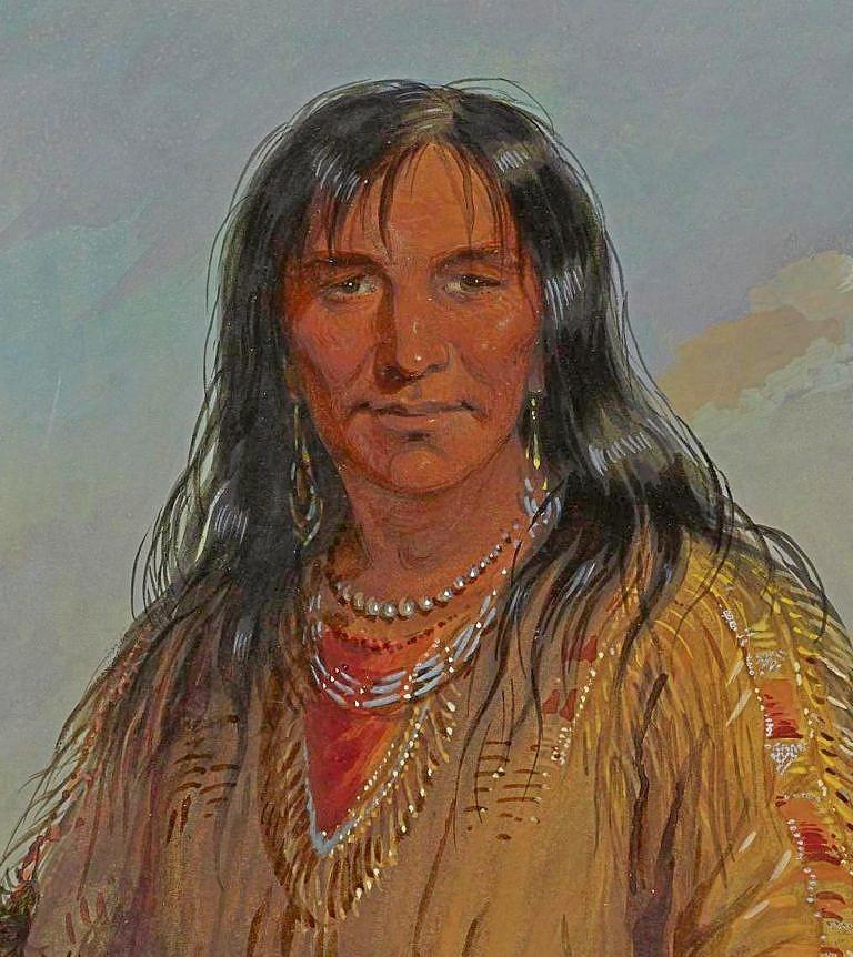 Kelnatkový náhrdelník na portrétu indiána od A.J.Millera z roku 1838.