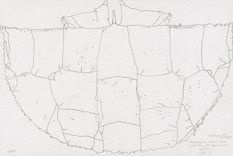 Schema sestavení bizoních kůží na týpí. Vyhotovil Ken Woody. NMNH.