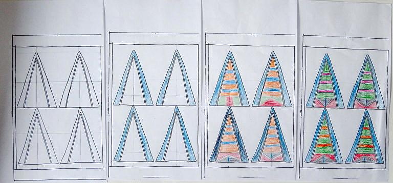 Návrh pouzdra na zrdcátko kmene Vran. Původní šablona se kopírovala skrze kopírovací zařízení a různé vzory jsou vybarveny pastelkami.