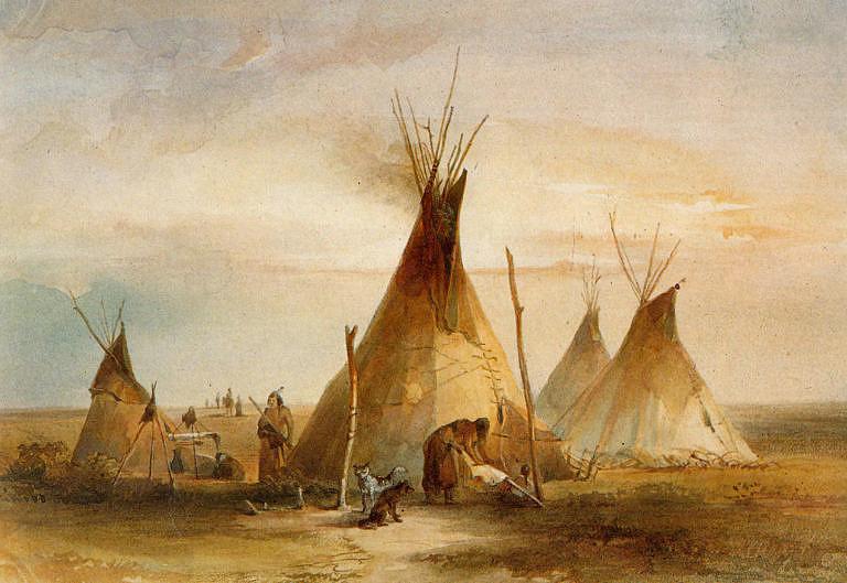 Kožená lakotská týpí na malbě Karla Bodmera ze 30. let 19. století.