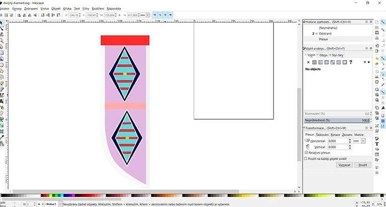 Návrh pouzdra na nůž ve vektorovém editoru Inkscape.