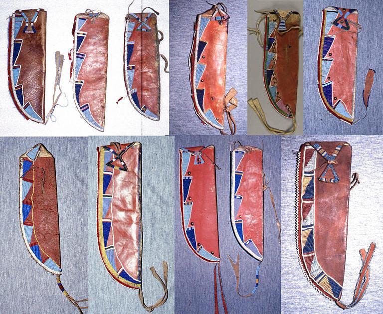 Pouzdra na nůž kmene Vran z období kolem roku 1870. Vysoká kompaktnost proporcí a vzorů je viditelná na první pohled.