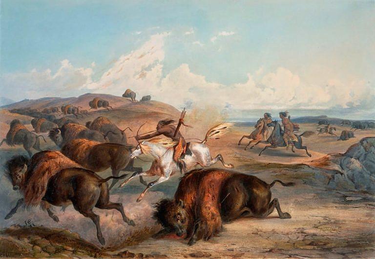 Lov bizonů na obraze Karla Bodmera.