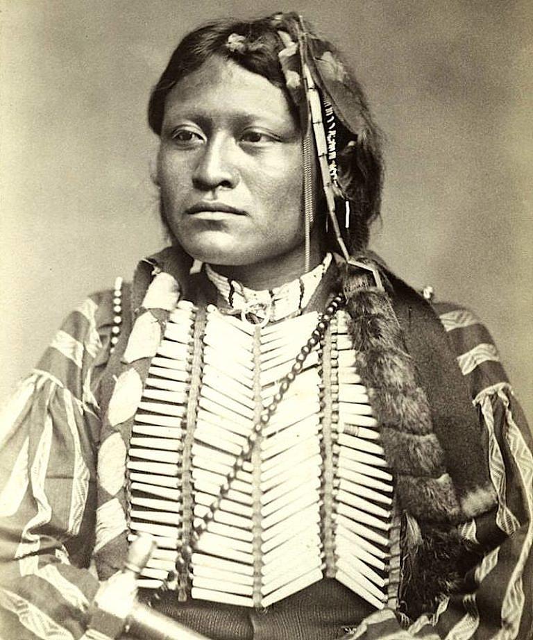 Válečník kmene Kajovů Osamělý vlk na fotografii W.Soula z roku 1872.