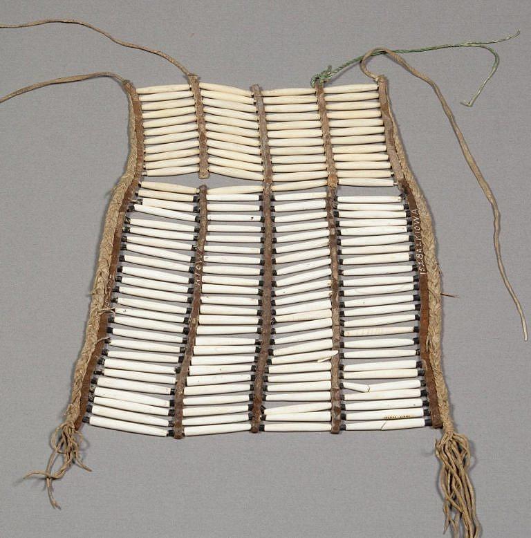 Unikátní jižanská náprsenka kmene Kajova ze sbírek NMNH. Obsahuje jak mušlové tak i kostěné kostice. Mušlové jsou na spodku náprsenky a poznají se podle bílé barvy. Naopak kostěné kostice v horní části náprsenky jsou zažloutlé. Některé z mušlových kostic jsou přepůlené a některé jsou popraskané, jelikož jsou křehčí než kostice z kostí.