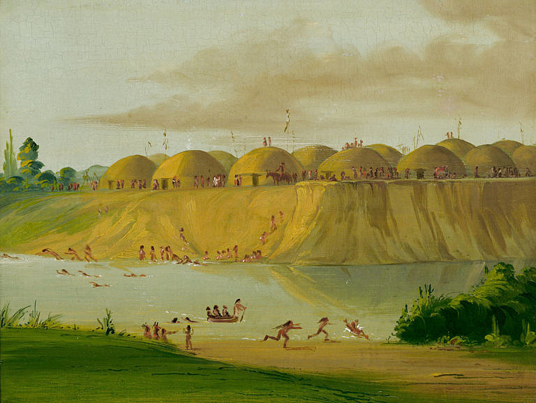 Vesnice Hidatsů Knife river. Poblíž této vesnice se uskutečnil obkličující lov bizonů, kterého se osobně zúčastnil malíř George Catlin.