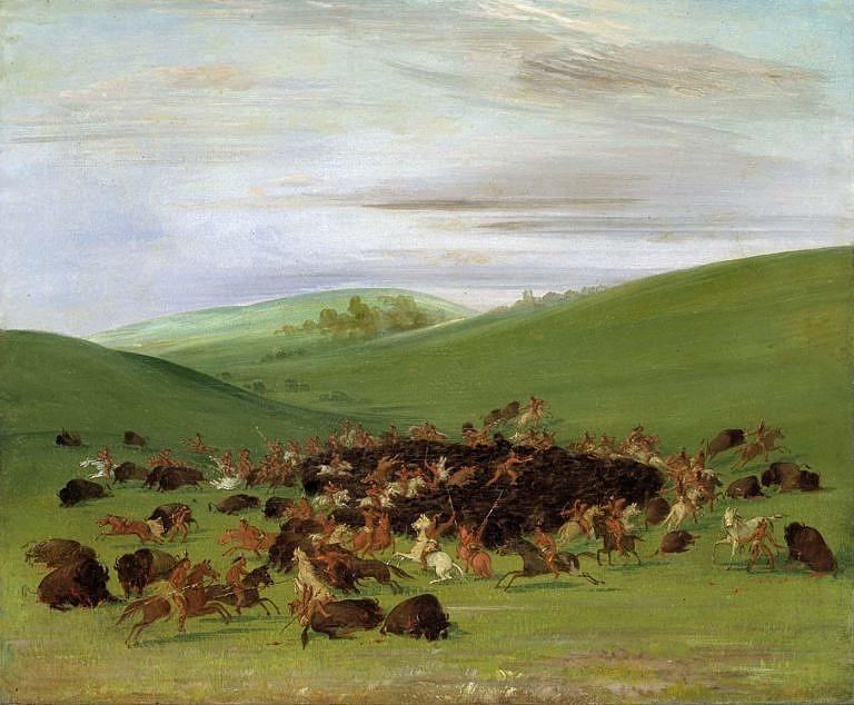 Obkličující lov bizonů kmenem Hidatsů, které popsal i namaloval George Catlin v roce 1832. Tento obraz zobrazje právě ten samý lov, který George Catlin popsal.