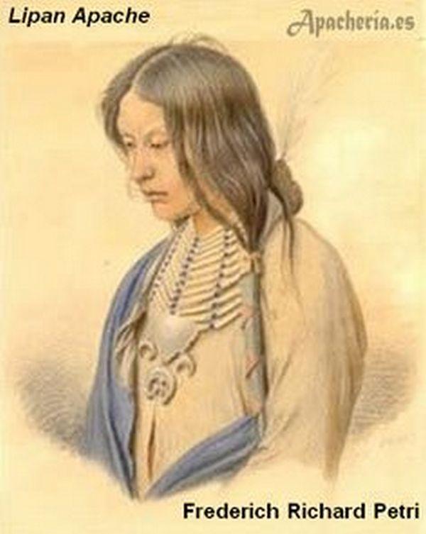 Válečník z kmene Lipanských Apačů na malbě Friedricha Petriho z roku 1852 je jedním z nejstarších vyobrazení náprsenky vůbec.