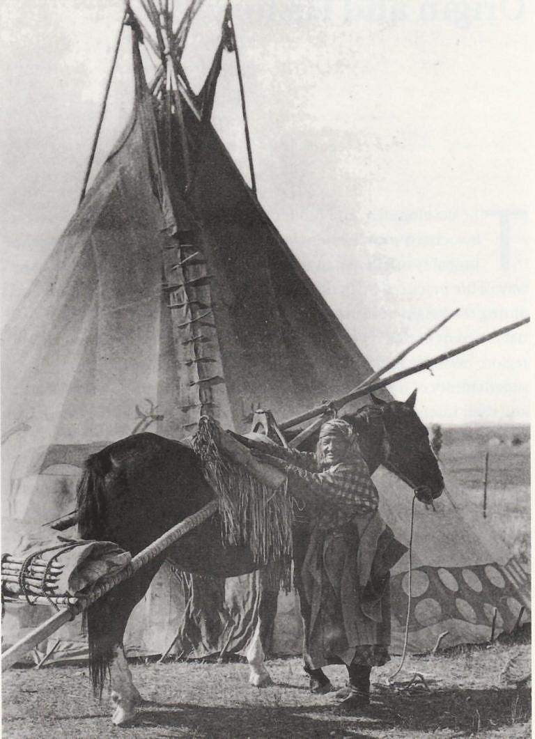 Indiánka kmene Černonožců na dobové fotografii. Nákladní kůň má připevněné nákladní sedlo a travois na kterém je složené týpí.