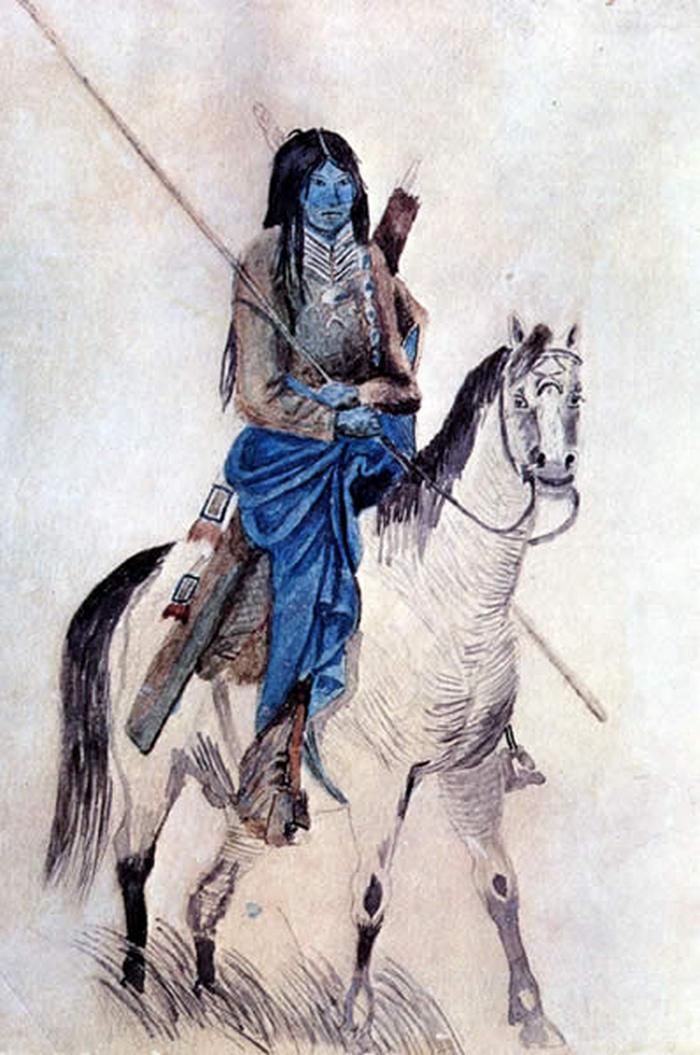 Válečník z jižních plání na malbě Friedricha Petriho (1851-57) je jedním z nejstarších vyobrazení náprsenky vůbec.