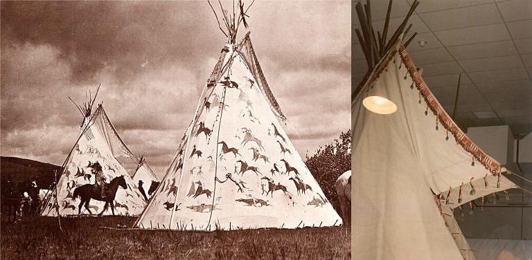 Týpí kmene Lakotů zdoebné malbou a proužky surové kůže omotanými ostny, přišitýpí k okraji chlopní.