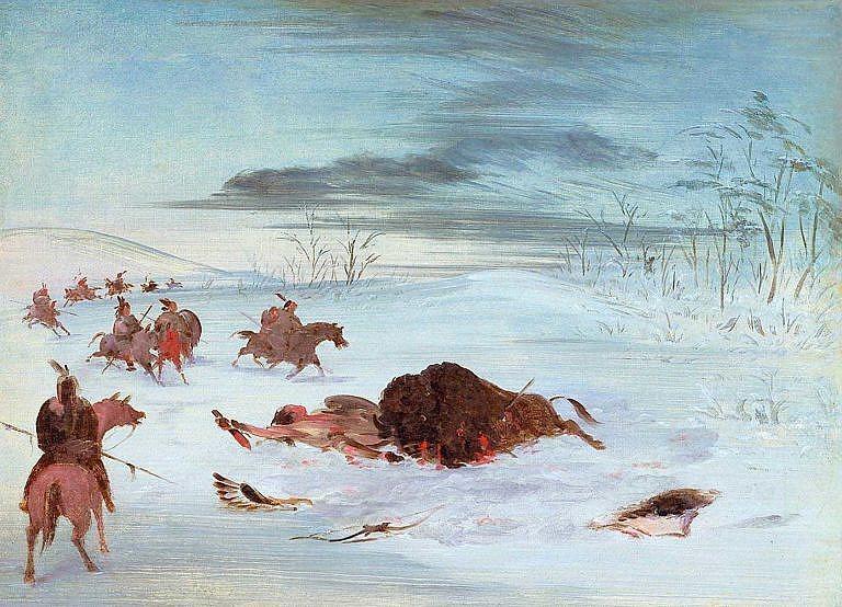 Smrtelně zraněný bizoní býk během zimního lovu ještě stihl usmrtit jednoho lovce. Malba George Catlina.