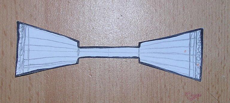 Šablona korpusu motýlků vyrobená z papíru.
