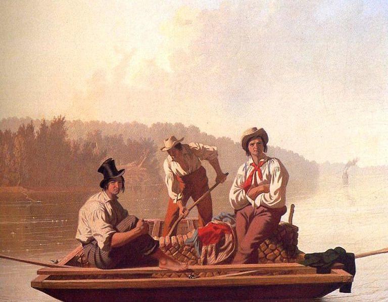 Dělníci na člunu na dobovém obraze ze 40. let 19. století. Všichni mají na sobě košile hranatého střihu.