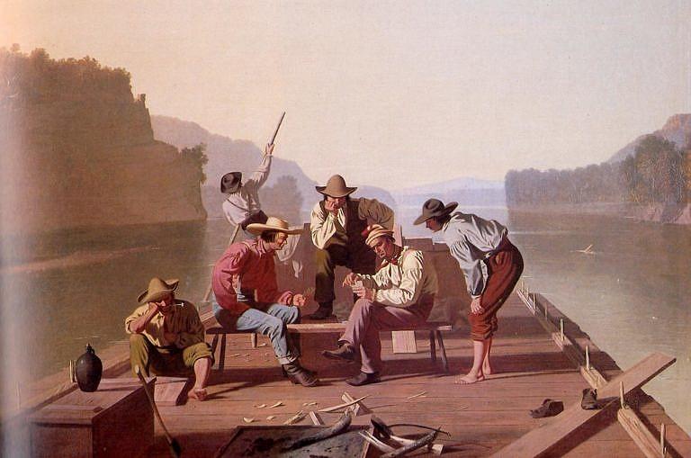 Dělníci na raftu, obraz od Georga Caleba Binghama z roku 1847. Je na něm vyobrazena parta dělníků v košilích hranatého střihu. Nosit košili bez saka či kabátu bylo v té době považováno za společensky neslušné, protože košile byla považována za spodní oblečení. Dělníci si však mohli dovolit luxus nedodržování společenských konvencí.