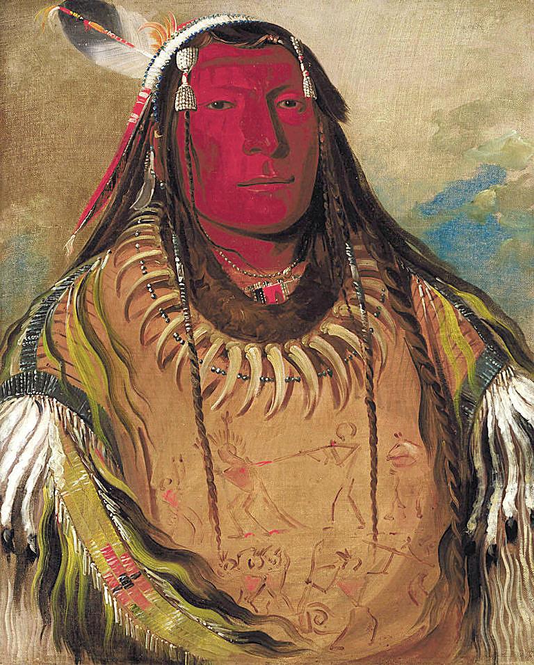 Dvě vrány, náčelník kmene Hidatsů na malbě Georgea Catlina. Malba pochází z roku 1832.