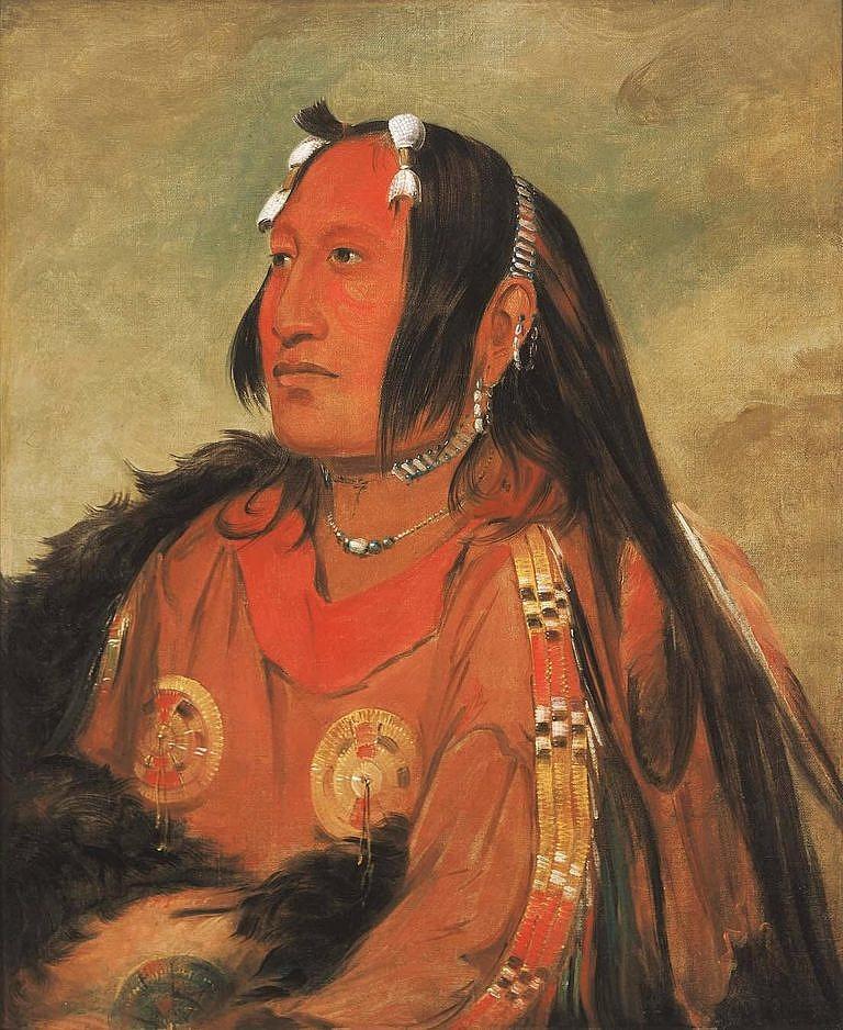 Assiniboinský náčelník Hlava holubího vejce na obraze Georga Catlina z roku 1832.