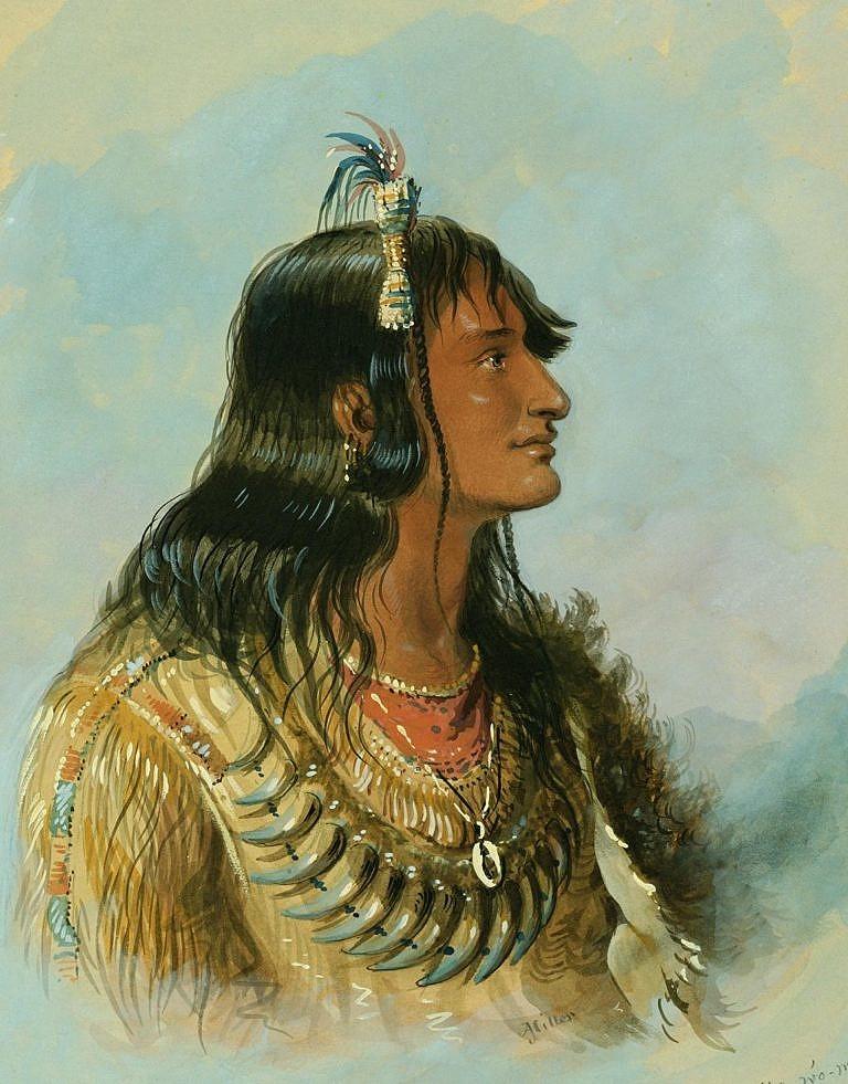 Indiánský válečník ze severních plání na obraze A.J.Millera z roku 1837.