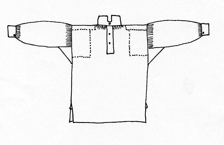 Skica košile hranatého střihu. Tečkované linie naznačují oblasti, kde byly košile zespodu vyztuženy dodatečnými kusy látky.