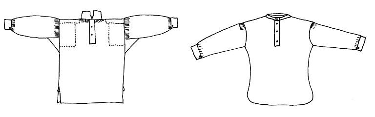 Porovnání obou střihů košilí. Vlevo je hranatý, primitivní střih košile, vpravo pak modernější a lépe padnoucí krejčovský střih. Hranaté košile se šily výhradně ručně, krejčovské zase pak průmyslově na šicích strojích v továrnách.