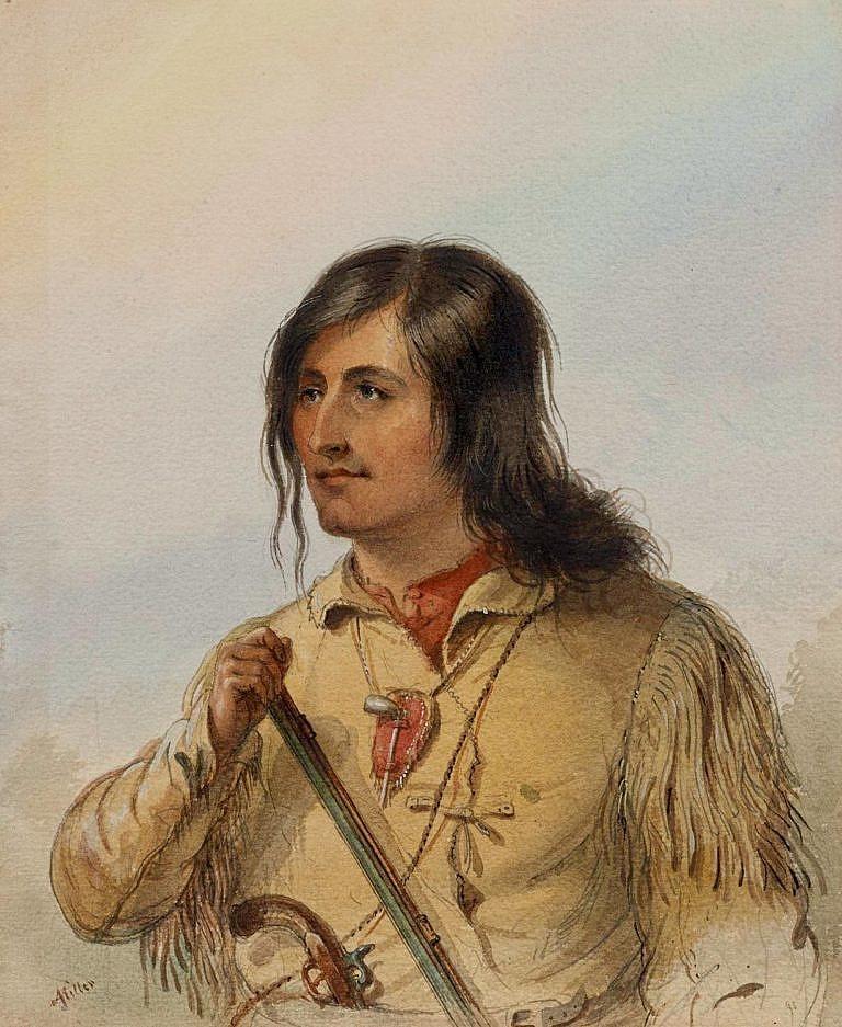 Trapper na dobovém obraze od A.J.Millera. Pod koženou loveckou košilí je vidět košile látková. Látkové košile patřily k běžné výbavě trapperů - lovců kožešin.