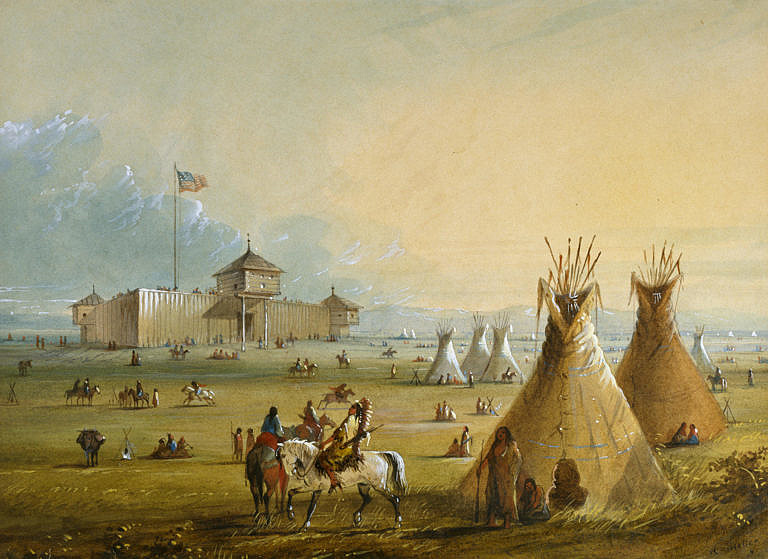 Pevnost Fort Laramie na malbě A.J.Millera.