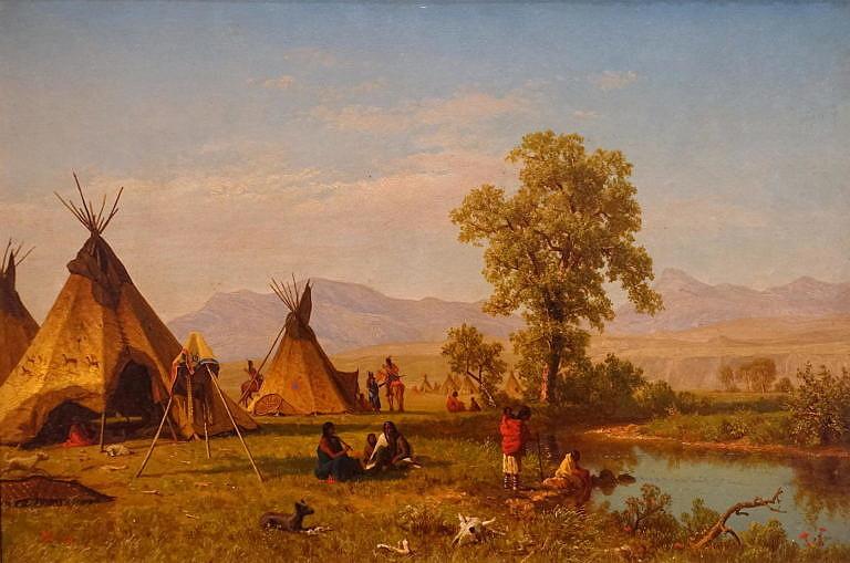 Lakotský tábor poblíž Fort Laramie na malbe malíře Alberta Bierstadta z roku 1859.