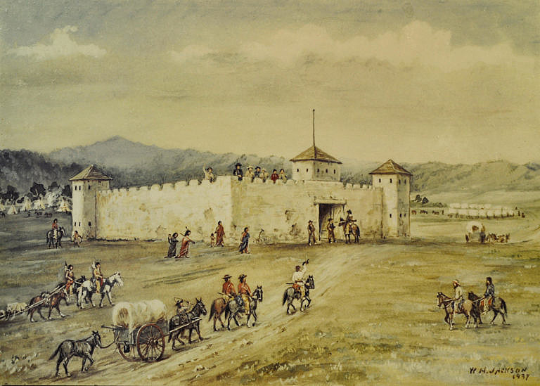 Imigranti putující po Oregonské stezce kolem pevnosti Fort Laramie na řece Severní Platě. Malba W.H.Jackson.