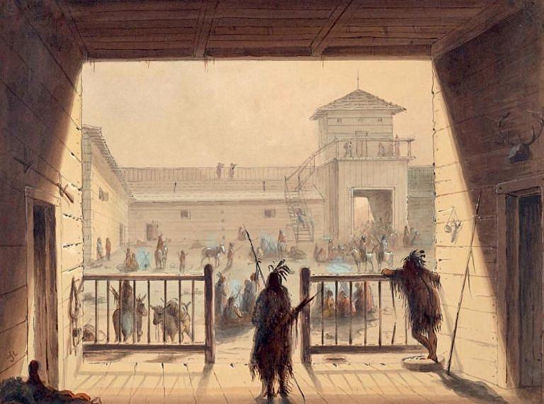 Interiér Fort Laramie na dobovém obraze. A.J.Miller.