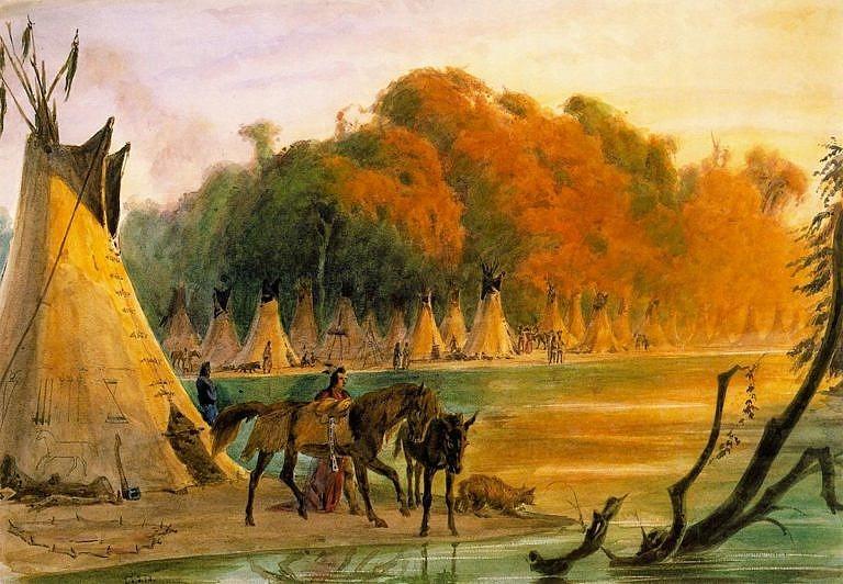 Malba švýcarského malíře Friedricha Kurze z období kolem roku 1850 zobrazuje tábor Assiniboinů. Kůň v popředí nese polštářové sedlo vypodložené podsedlovou dekou z bizoní kožešiny. Sedlo je navíc zajištěno podocasníkem s bohatým třásněním.