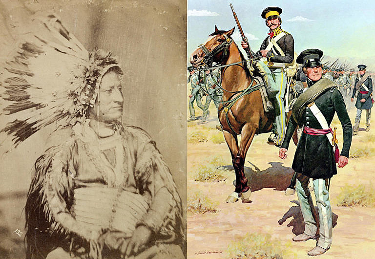 Vlevo je Velké žebro, jeden z oglalských náčelníků na fotografii z roku 1851. Vpravo pak je obrázek infanterie Americké armády (s velitelem na koni) tak jak vypadalo kolem roku 1850, tedy zhruba v době Grattanova masakru.