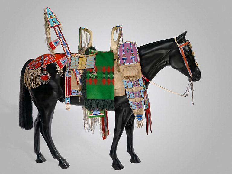 Kůň kmene Vran, plně ozdobený na přehlídku. Podsedlová deka má ozdobenou jenom zadní část.