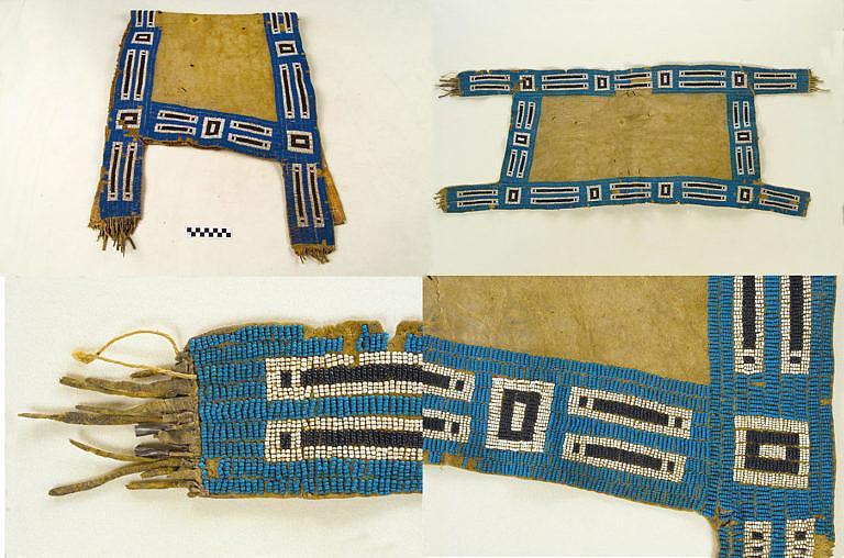 Lakotská podsedlová deka zdobená korálky pony beads. NMAI.