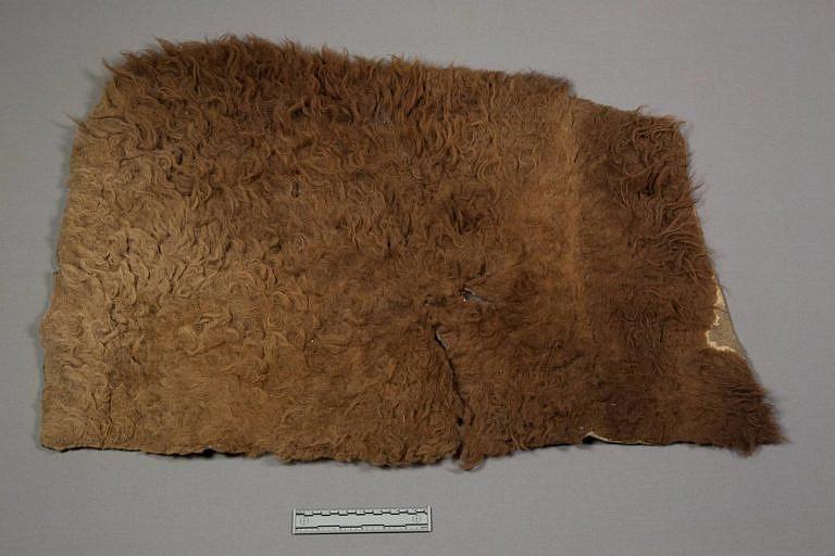 Jednoduchá podsedlová deka, vlastně jde o obdélník bizoní vydělané kožešiny. NMNH.